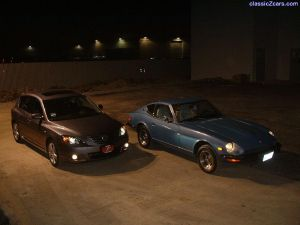 My 260z and Rich's Mazda 3s