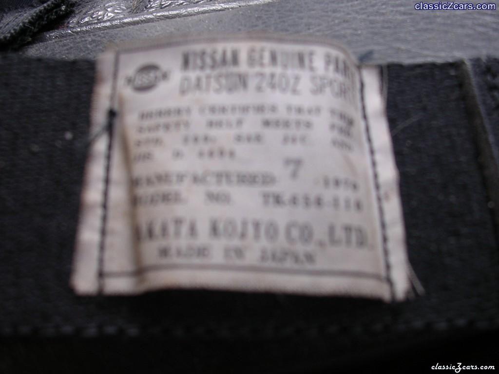 240Z seat belt sticker