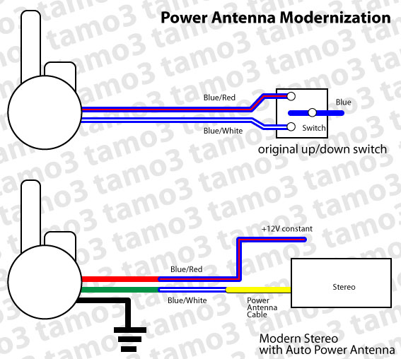connect power antenna to modern car stereo electrical classic zcar club