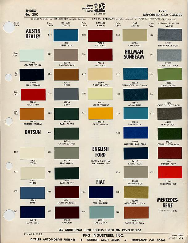 Datsun Paint Codes 1969 1983 Technical Articles The