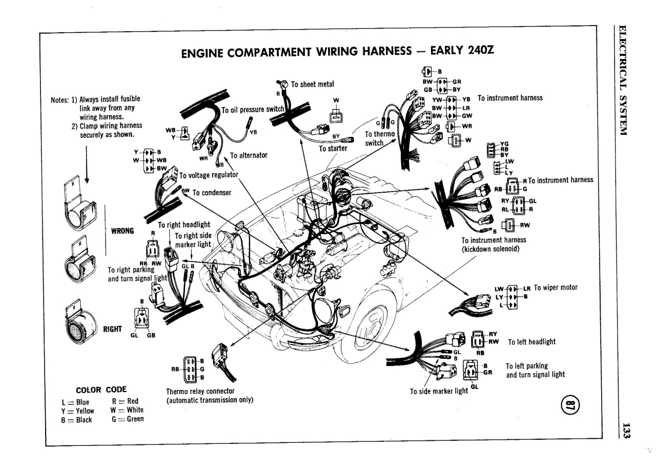 240Z Serie I Color Wiring Diagram - Page 2 - Electrical - The ...