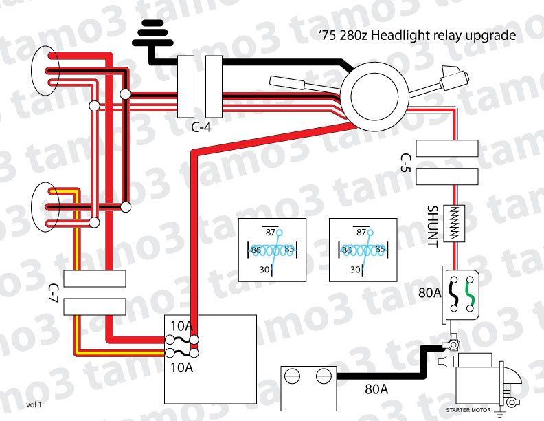 280z wiring diagram head lights '75 280z headlight relay upgrade - electrical - the ... #5