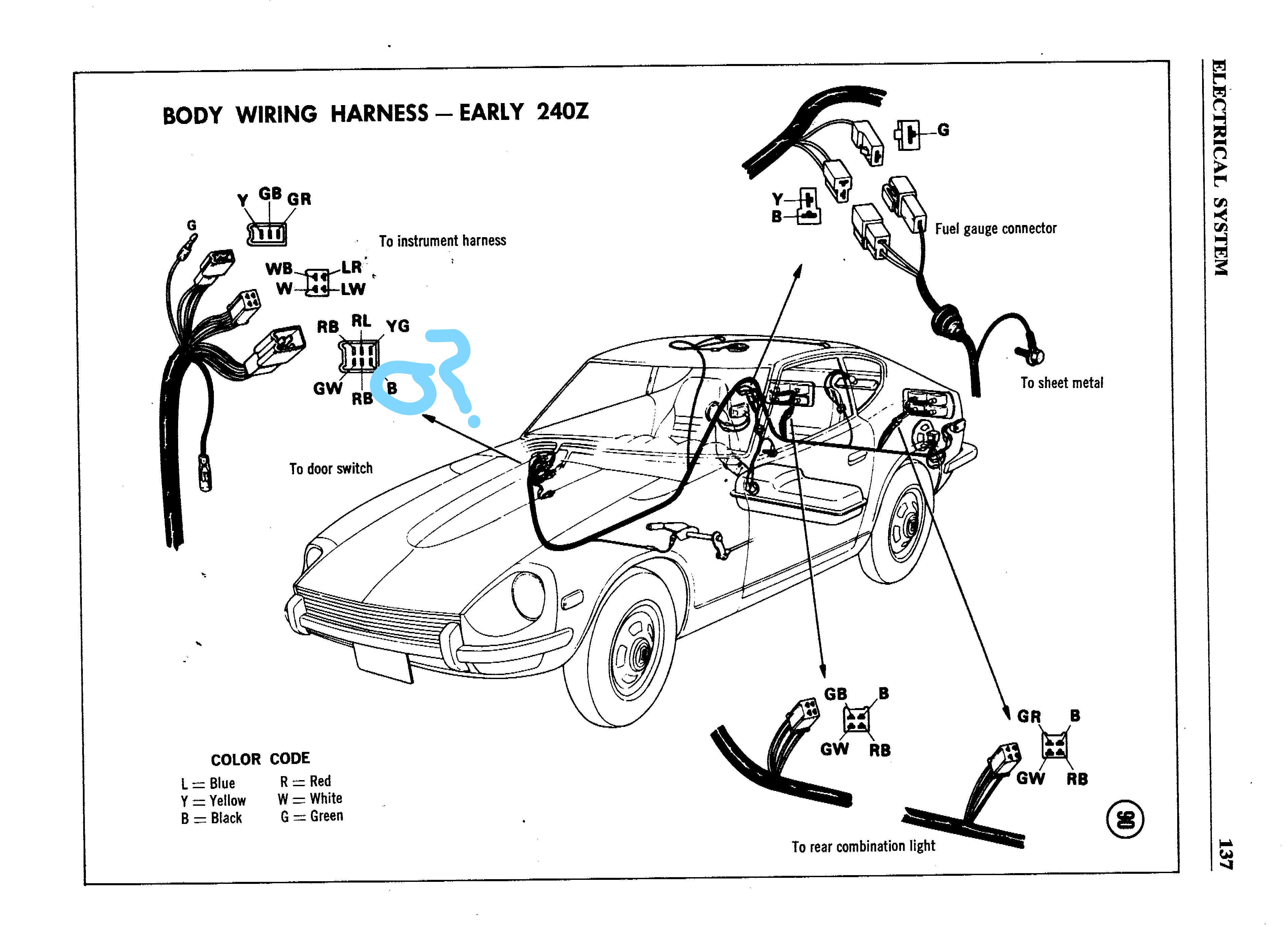 Inked240WireBody_Early137_LI.cf317310c94b422ba23e539e1f75e1f1 series 1 240z reverse light complications electrical classic 240z wiring harness at n-0.co